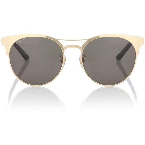 Gucci Browline Sunglasses ($295) ❤ liked on Polyvore featuring accessories, eyewear, sunglasses, gold, gold glasses, gucci sunglasses, golden glasses, gold sunglasses and gucci glasses