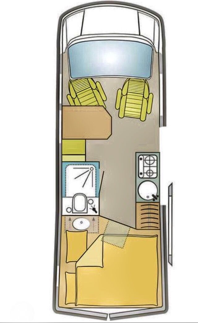 Interior layout for CS Independent Sprinter 4x4 camper van.