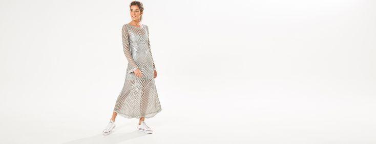 vestido longo tricot metalizado | FARM