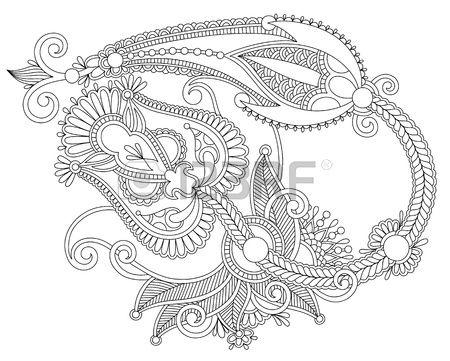 Hand draw line art ornate flower design. Ukrainian traditional style photo