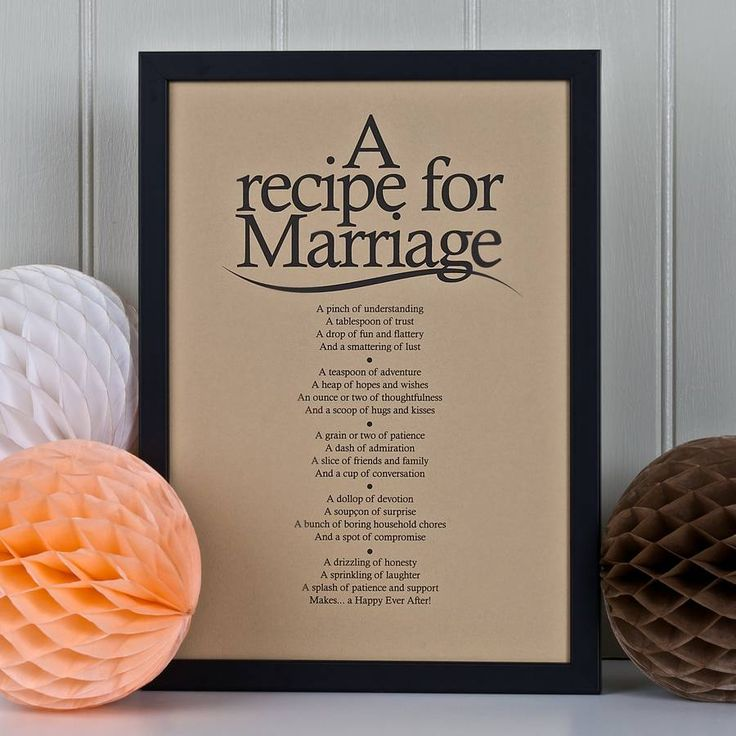 'A Recipe For Marriage' Poem Print