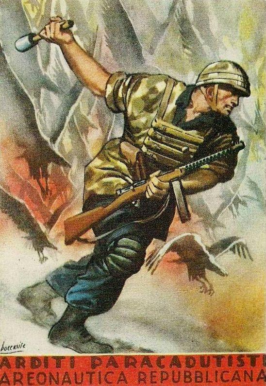 Italian WWII Folgore Airborne Division recruiting poster/Fascist propaganda poster