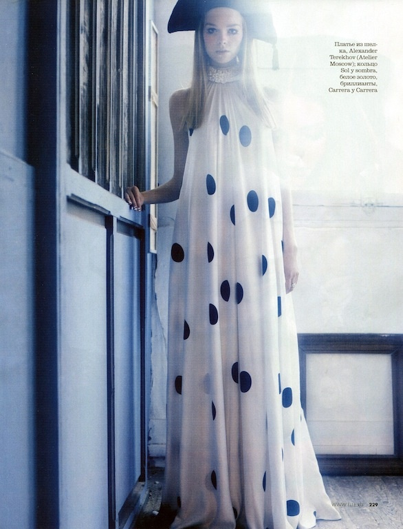 Tent dress and polka dots | Elle Russia March 2013