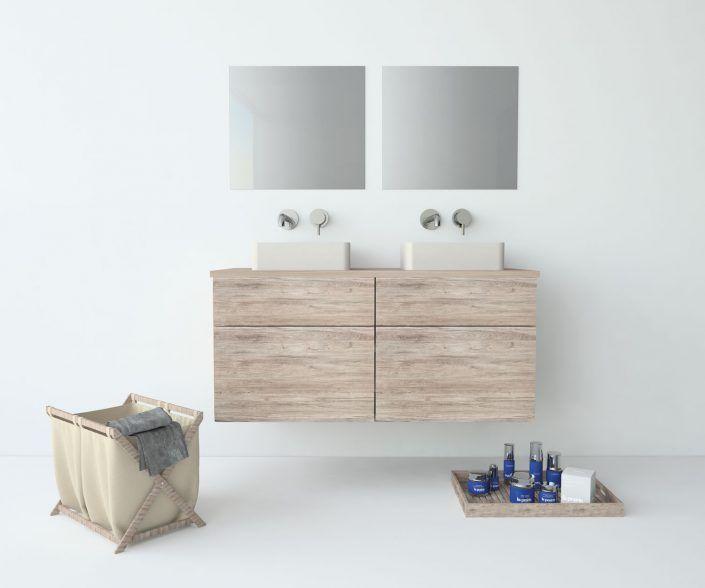 Muebles de baño, propuestas de composiciones para conseguir amplitud en el almacenaje: cajones, puertas correderas, abatibles, huecos vistos, etc. unibaño-compactos-almacenaje-15