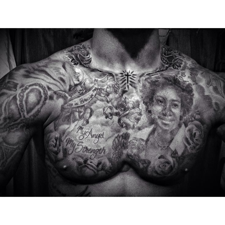Chest Tattoo, Black And Grey, Portrait, Rose