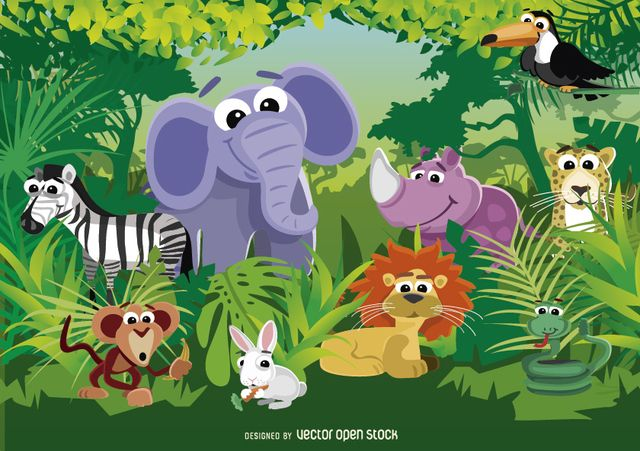 Scenery clipart jungle scenery - Pencil and in color ...
