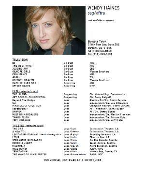wendy haines actor resume