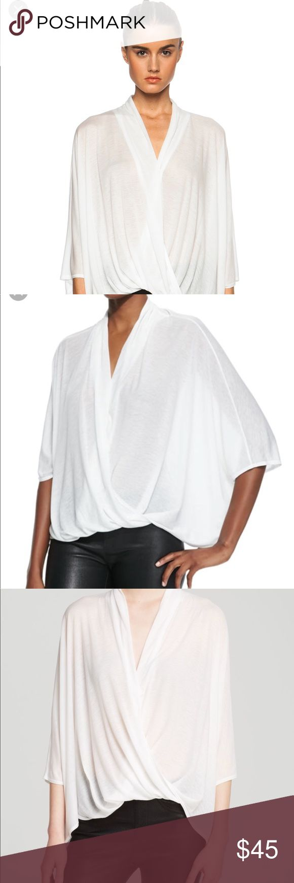 Helmet Lang jersey top Helmet Lang size Petite. 'Entity' tencel jersey asymmetrical top with batwing sleeves in white. Draped fabric detail in front with asymmetrical hem.  Brand new, never worn. Perfect condition. Price firm. Helmut Lang Tops Blouses