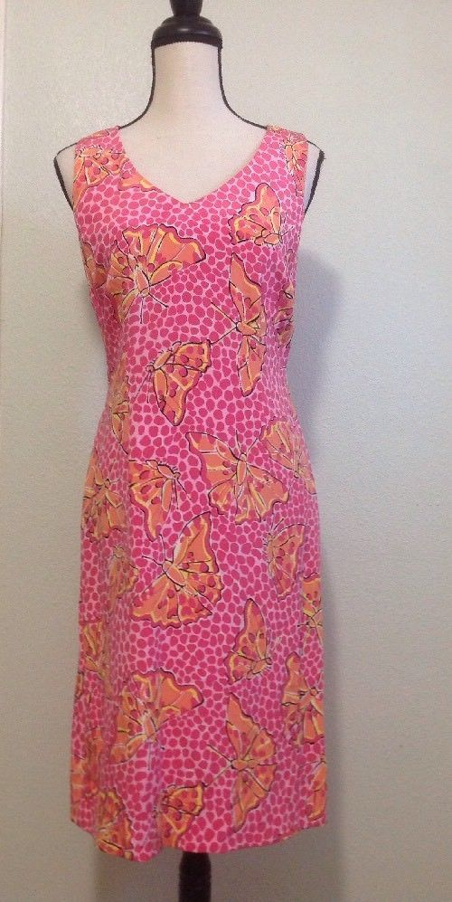 c1f14b722c Lilly Pulitzer Silk Dress Sz 4 Coral Pink Butterfly Sleeveless Spring Shift  EUC  LillyPulitzer