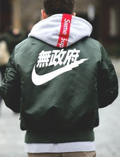 Nike jacket with Supreme hoodie #BackToSchool #Streetwear