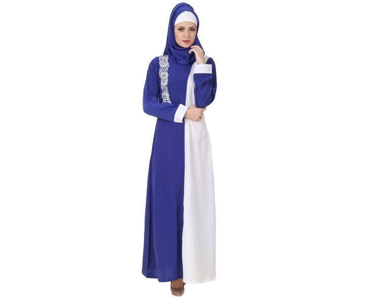 MyBatua Asbah Crepe Royal Blue & White Abaya | Available in sizes XS to 7XL, lenth 50 to 66 inches.  Buy link : https://www.mybatua.com/catalogsearch/result/?q=asbah+crepe+royal+blue+%26+white+abaya