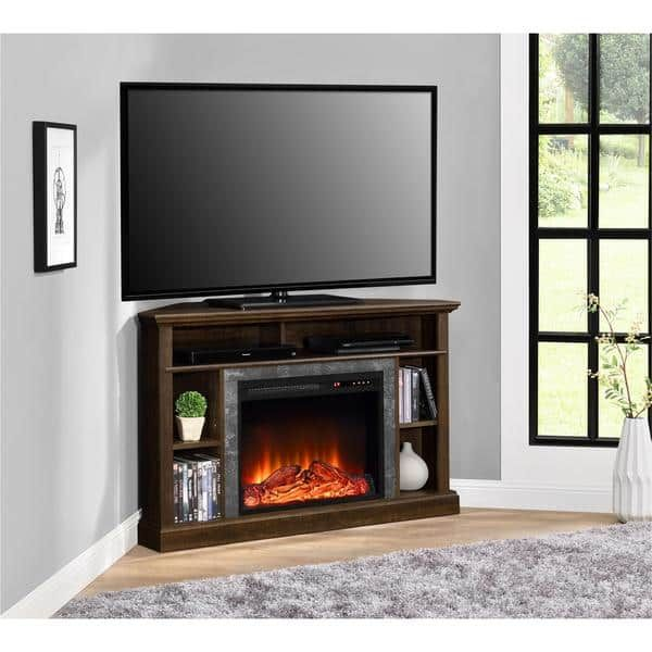 ameriwood home altra overland electric fireplace corner 50 inch tv stand electric fireplace tv stand espresso brown