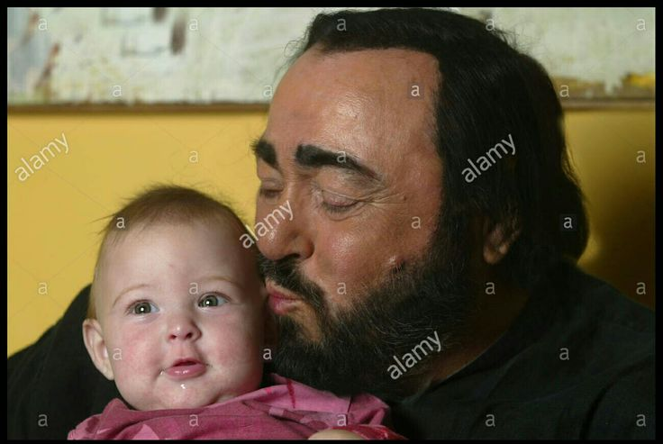 Luciano Pavarotti pictured in his home town in Italy with 9 month daughter!