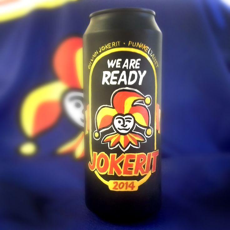 Handpainted old beercan. Jokerit. We are ready! #jokerit #weareready
