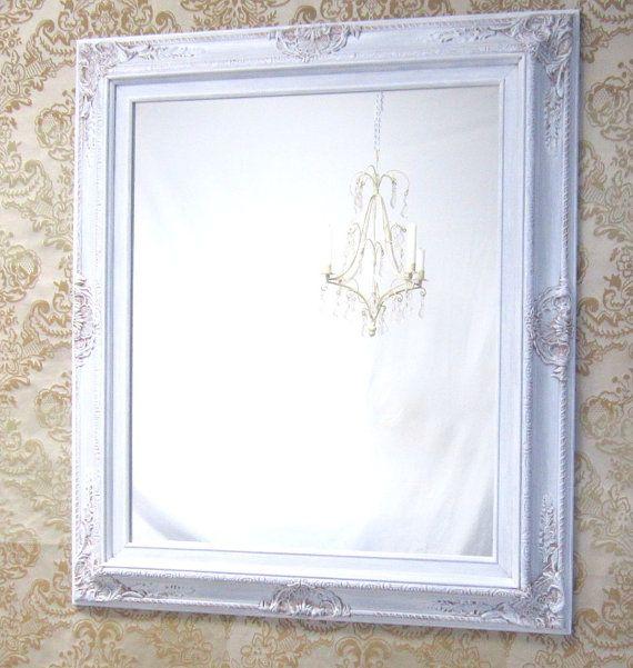 WHITE FRAMED MIRROR For Sale Regency Decor by RevivedVintage