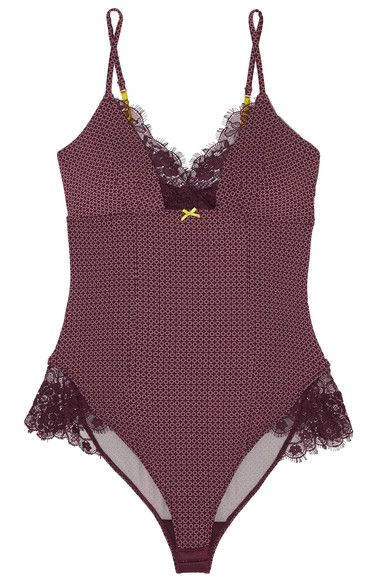 Elle Macpherson Body - Lash Lace-trimmed Printed Stretch-jersey Bodysuit - Merlot - large