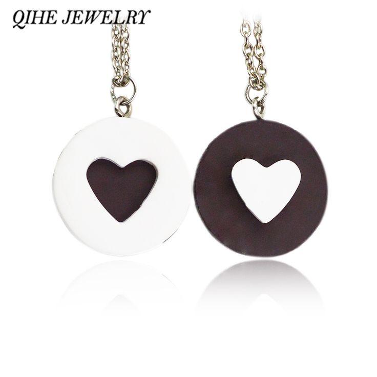 2pcs/set Resin Black Chocolat Cookie Necklace Puzzle Food Design Men Women Best Friend BFF Forever Friendship Lover Gifts
