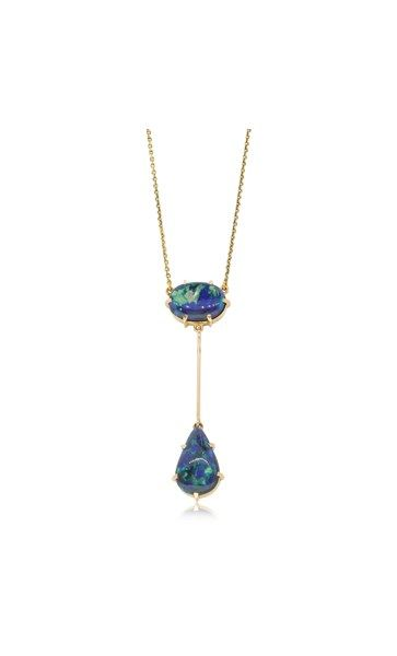 Vintage 15ct yellow gold black opal pendant