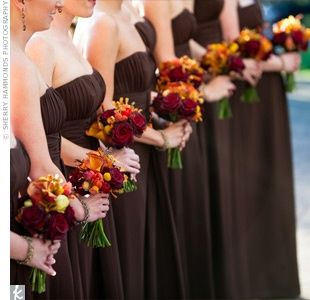 This is exactly what I would have my bridesmaids wear with an orange ribbon tied around them