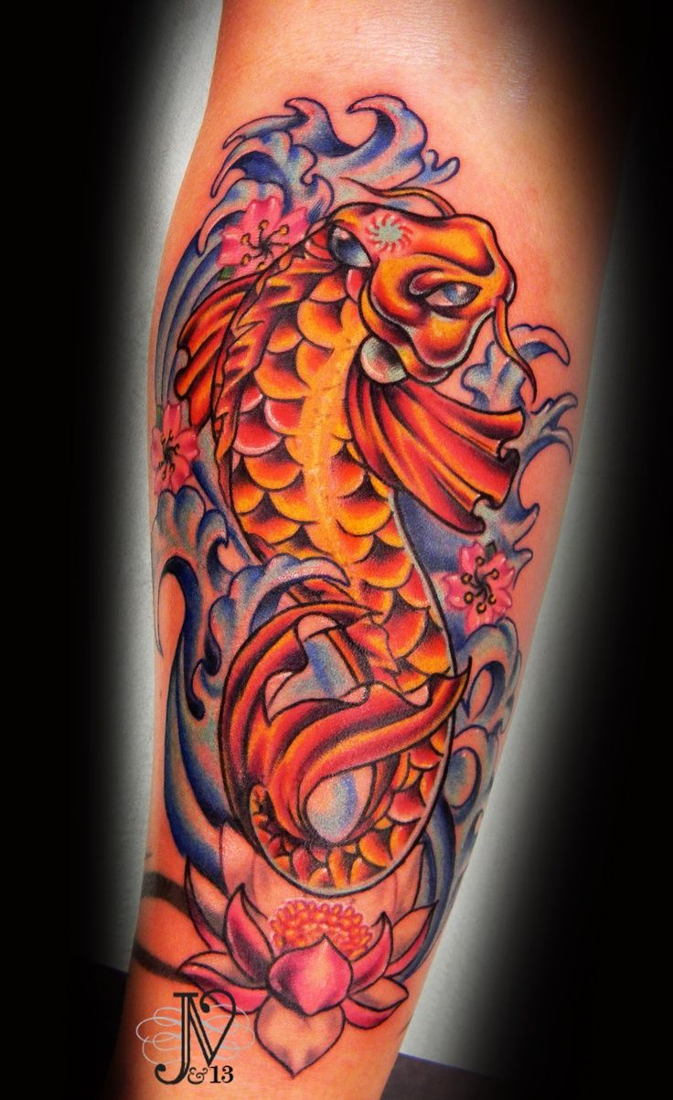 Girly koi fish tattoos sat amazingly foi fish with for Blossom flower tattoo meaning