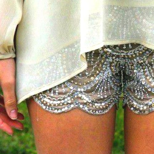 ~` sequin bedazzled scallop shorts .. sheer top `~