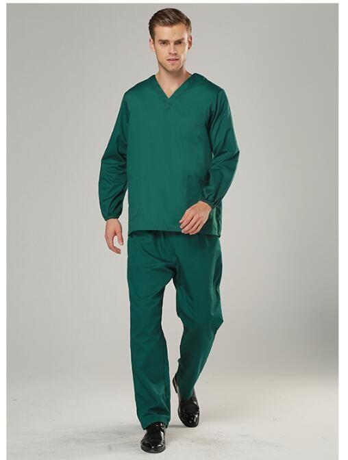 100 cotton Medical Scrubs Long sleeves Medical suits Woman Beautiful uniforms Man Dental uniforms