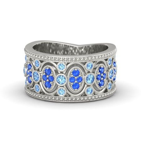 14K White Gold Ring with Blue Topaz & Sapphire | Renaissance Band | Gemvara