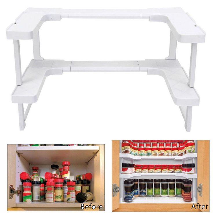 Spice Shelf Spicy Rack Kitchen Bathroom Stackable Storage Organizer Pantry Hot