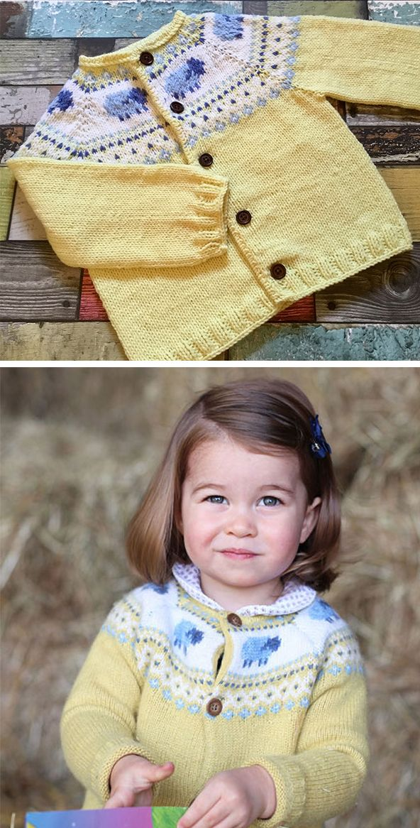 d2da4ab0 Knitting Pattern for Princess Charlotte Yellow Sheep Cardigan - Inspired by  the cardigan Princess Charlotte wore in her 2nd birthday portrait taken by  her ...