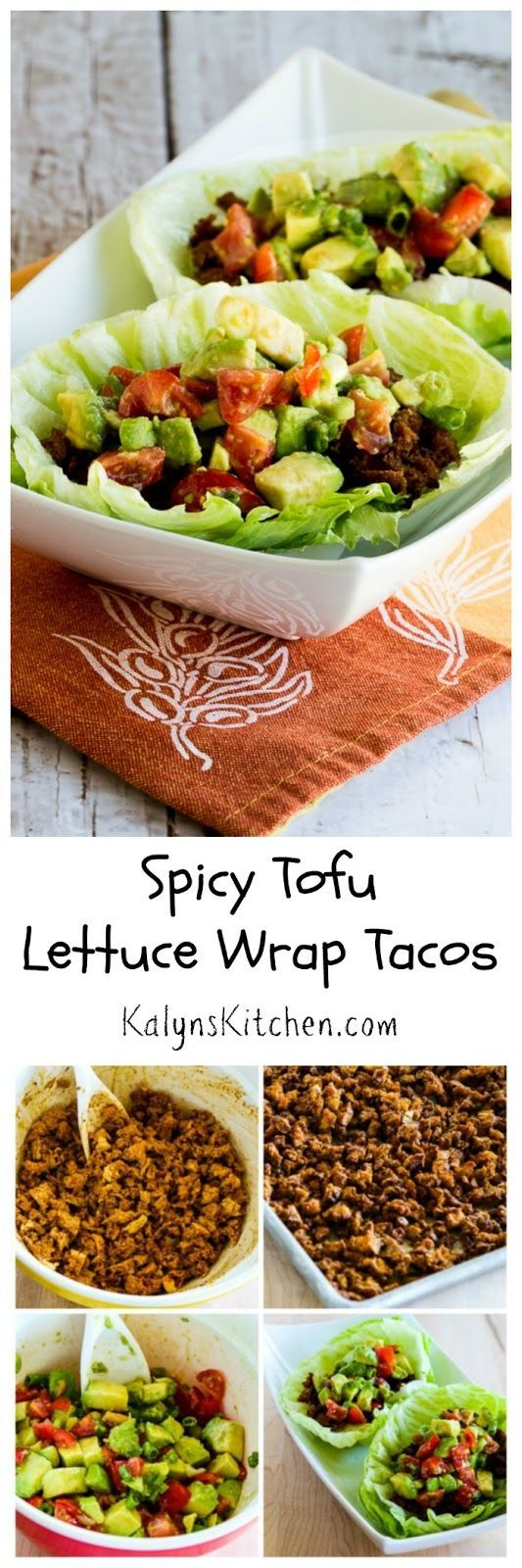Crumbled tofu is baked with spices to become the filling in these Spicy Tofu Lettuce Wrap Tacos that are low-carb, vegan, and gluten-free; ...