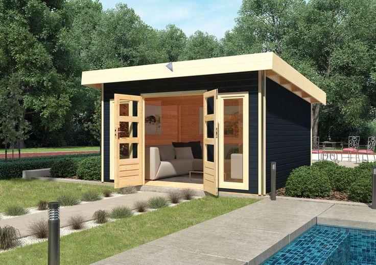 die besten 25 flachdach gartenhaus ideen auf pinterest. Black Bedroom Furniture Sets. Home Design Ideas