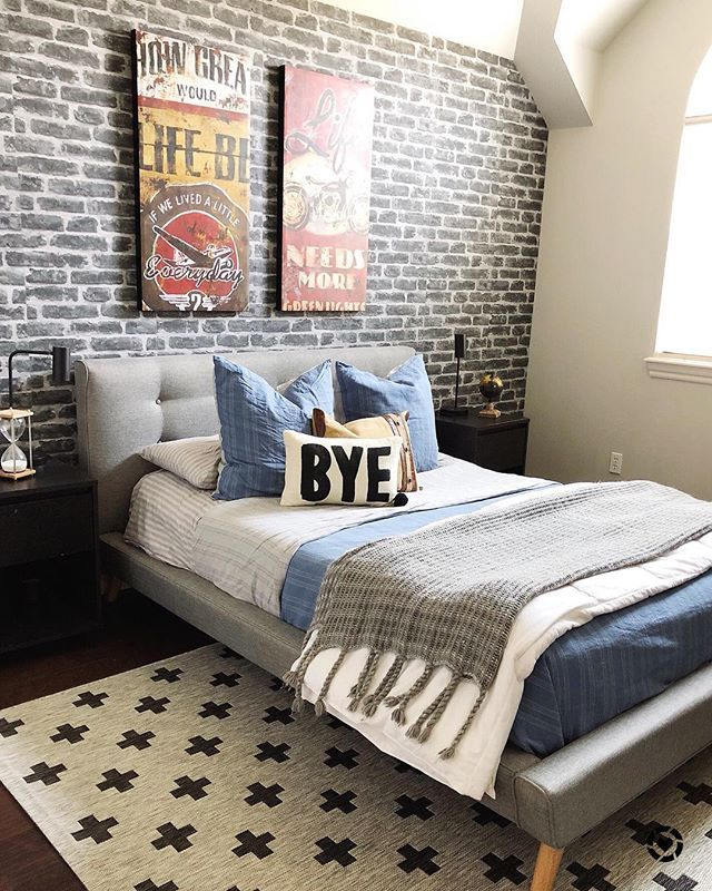 Here It Is My Son S Semi Finished Room Update The Brick Wall Looks Authentic But It S Actua Boys Bedroom Wallpaper Brick Wall Bedroom Brick Wallpaper Bedroom