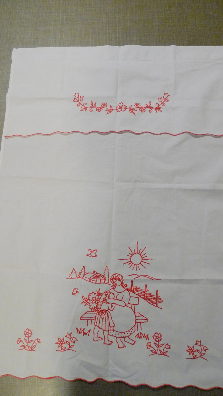 Vintage Scandinavian Embroidered Curtain Fantastic Condition Traditional Norwegian. $15.00, via Etsy.