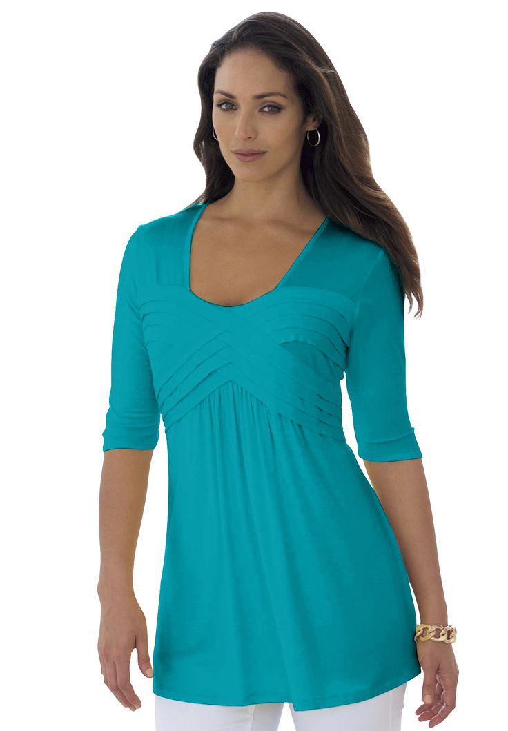 Long empire-waist pleated tunic has a crisscross banded bodice with shirring underneath. #tops #lookbook #fashion