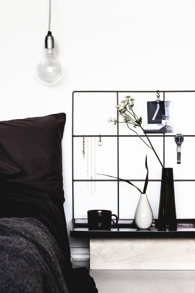 Wallment memo board grid | Scandinavian style  | nordic bedroom  | masculine black and white interior