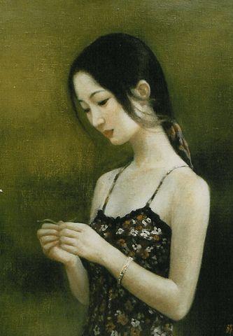"""""""Meditación"""". Xue Mo (pintora nacida en Mongolia en 1961)."""