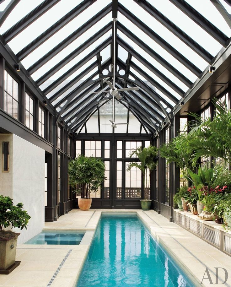 lap pool with skylightin greenhouse - Big Houses With Pools Inside The House