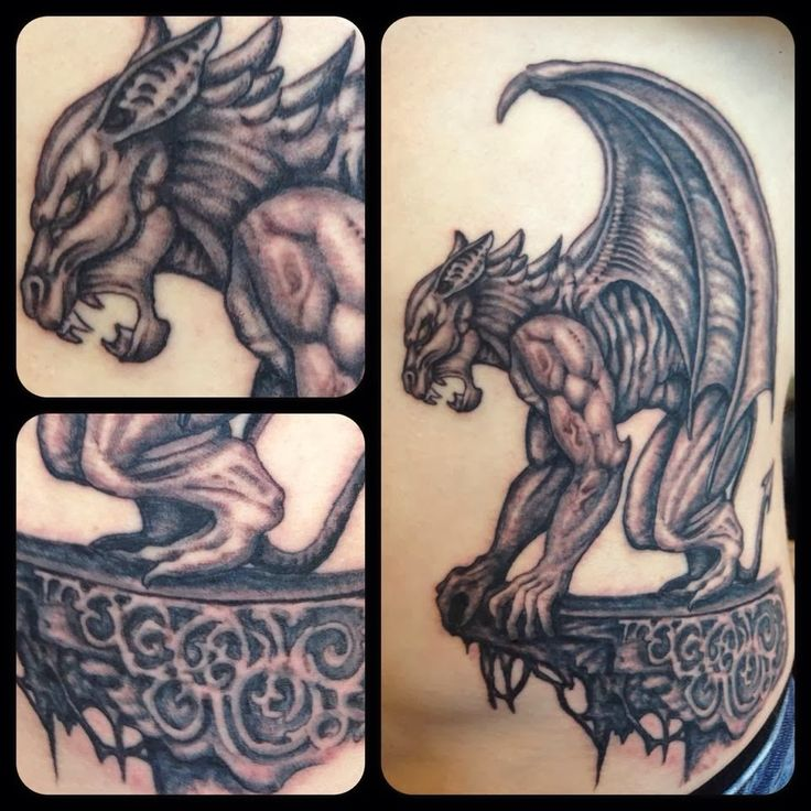 Impressive 3d Gargoyle Tattoo Design Made By Expert