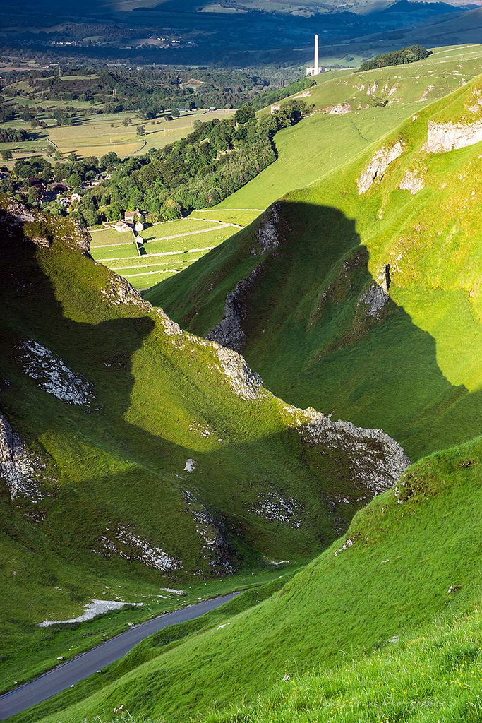 Winnats Pass, Derbyshire | England (by James G Photography).  Winnats Pass is in the High Peak area of the English county of Derbyshire. It lies to the west of the village of Castleton, in the National Trust's High Peak Estate. The road winds through a cleft, surrounded by towering limestone pinnacles. Wikipedia