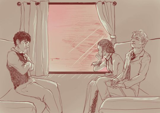 Jem Carstairs, Will Herondale and Tessa Gray this is the result of the famous will streaking line!!! TESSA ON A TRAIN
