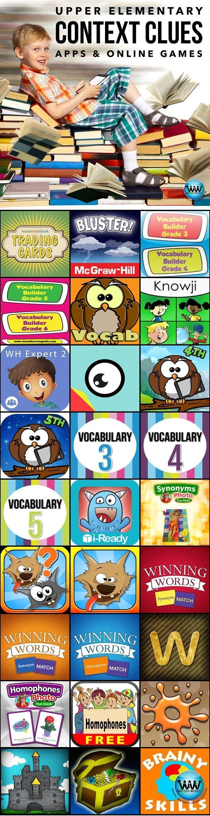 Upper elementary students must be able to use the context of the sentence (e.g., in-sentence example or definition) to determine the meaning of unfamiliar words, multiple meaning words, antonyms, synonyms, and homographs.  Here are some apps, online games
