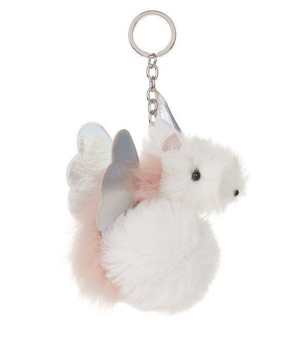 White Unicorn Pom Pom Keyring | New Look