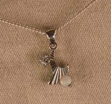 Milky Opal in Sterling Silver Pendant. Diamond feature.