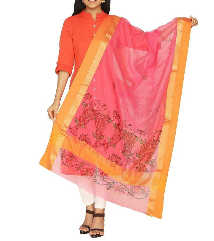 Pink Cotton Silk Hand Painted Dupatta