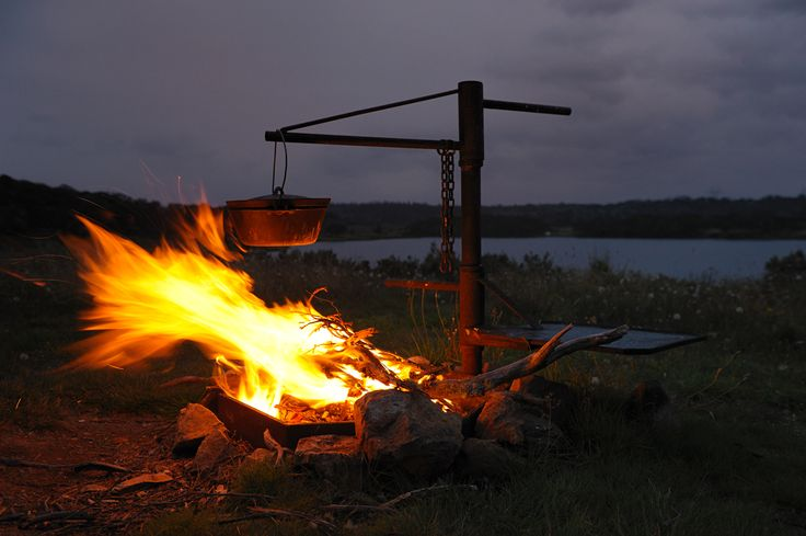 #SnowyValleysC A winter's campfire at Blowering Dam Tumut NSW