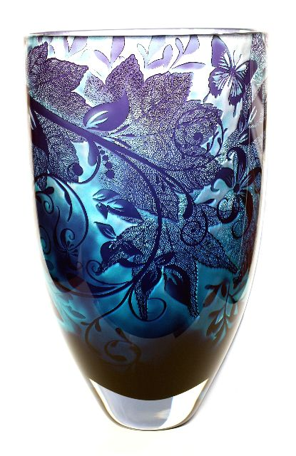 Jonathan Harris. Foliage & Trailing Flora    Hand carved cameo vase with layers of enamel