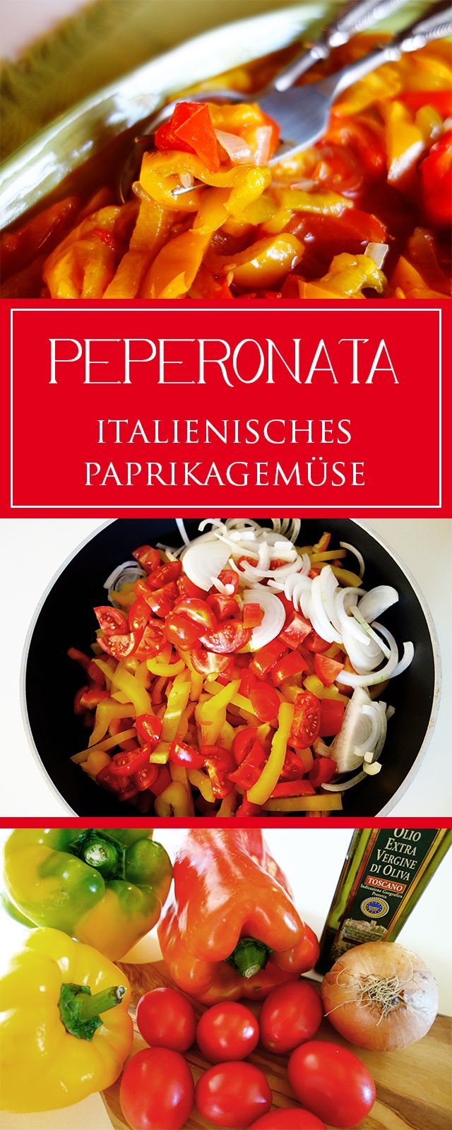 Peperonata - ein einfaches, leckeres Rezept für die vegetarische Beilage - toll für alles vom Grill & auch glutenfrei & gesund ❤️ | cucina-con-amore.de