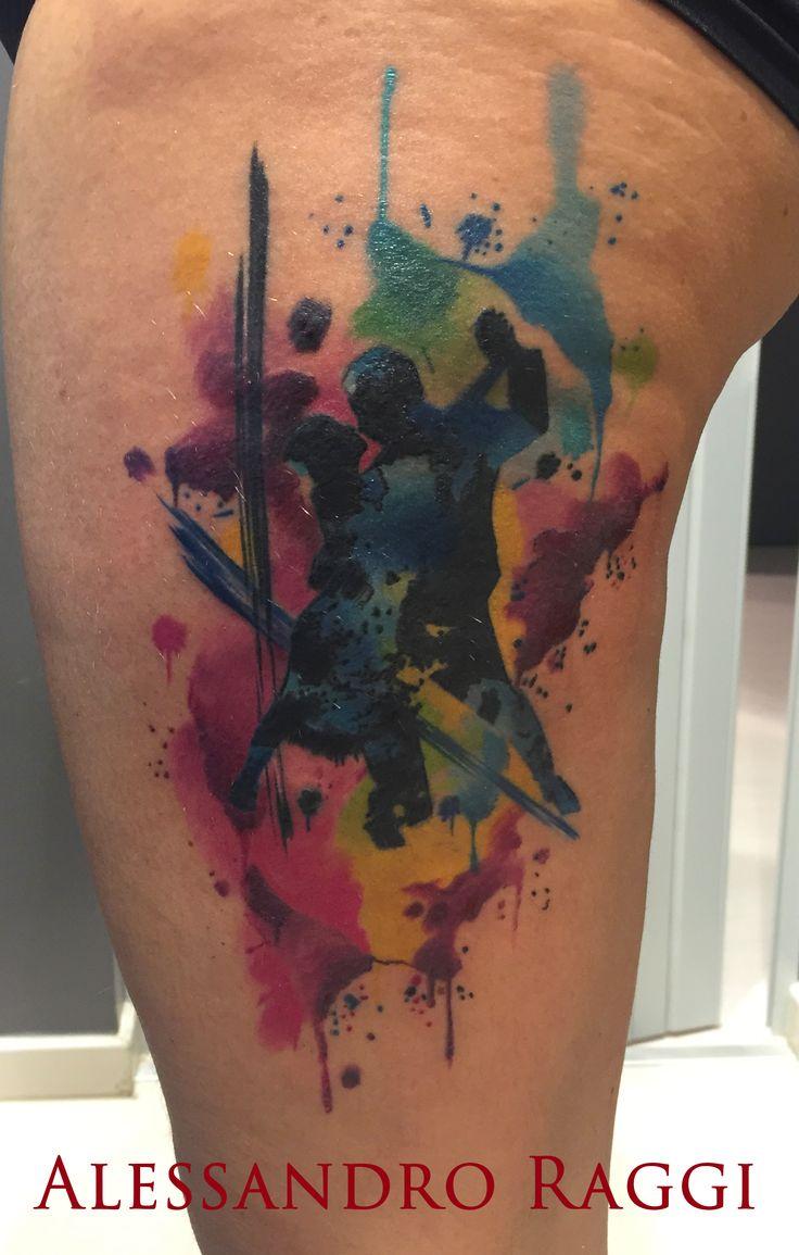 Watercolor, dancers by Alessandro Raggi