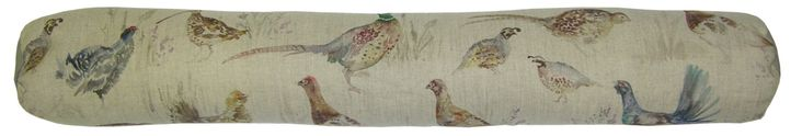 Game Birds Draught Excluder By Voyage Maison. The draught excluders measure approximately 95 cm wide by 13 cm with storage handle. The draught excluders are filled with scented lavender and natural wheat and have a printed 53% linen and 47% cotton fabric cover.