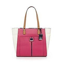 Pink colour block tote bag